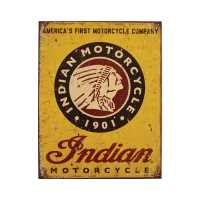 Indian Motorcycle 1901 Sign - Yellow