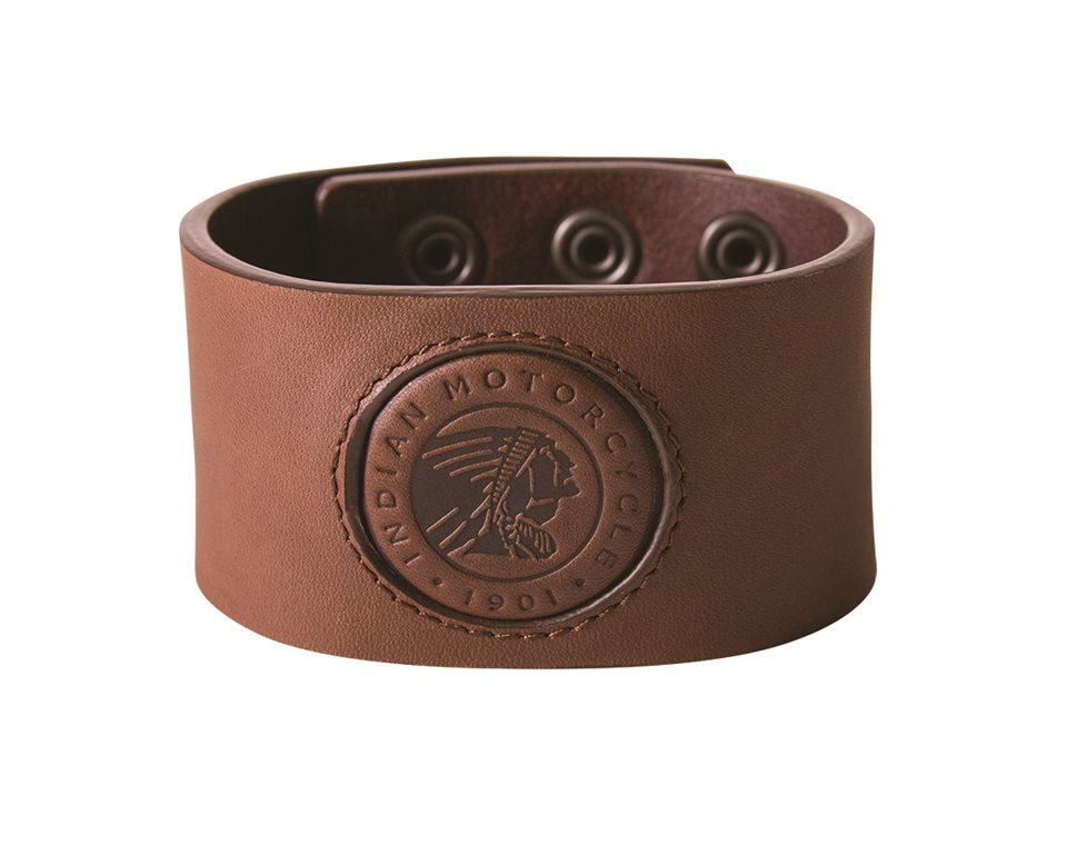 Leather Snap Cuff with Embossed Logo, Brown