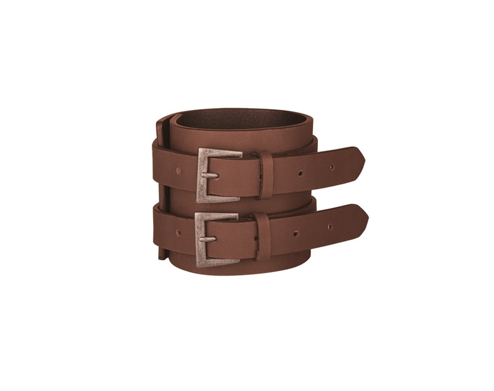 Double Strap Leather Cuff, Brown