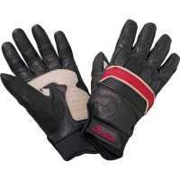 Women's Leather Retro Riding Gloves with Red Stripe, Black