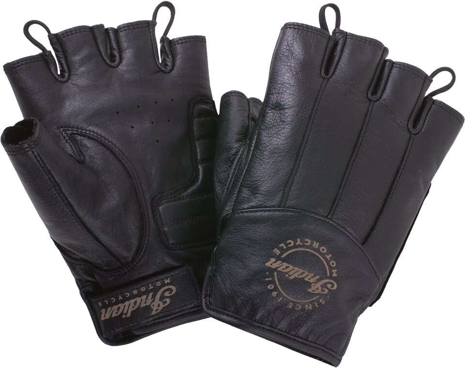 Men's Leather Fingerless Gloves, Black