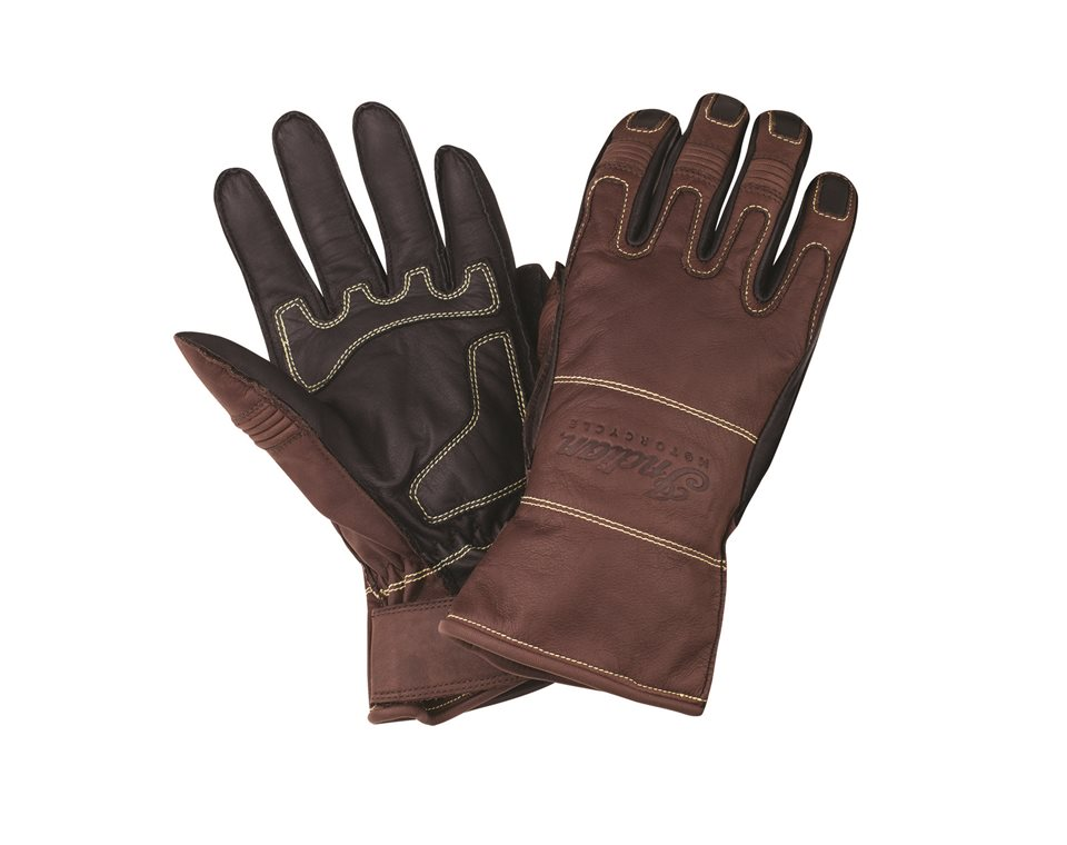 Men's Leather Two-Tone Riding Gloves, Brown