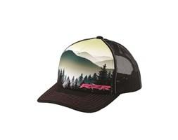 Women's Adjustable Mesh Snapback Mountain Screen Hat with Pink RZR® Logo, Black/Print