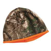 Reversible Fleece Camo Beanie - Blaze Orange