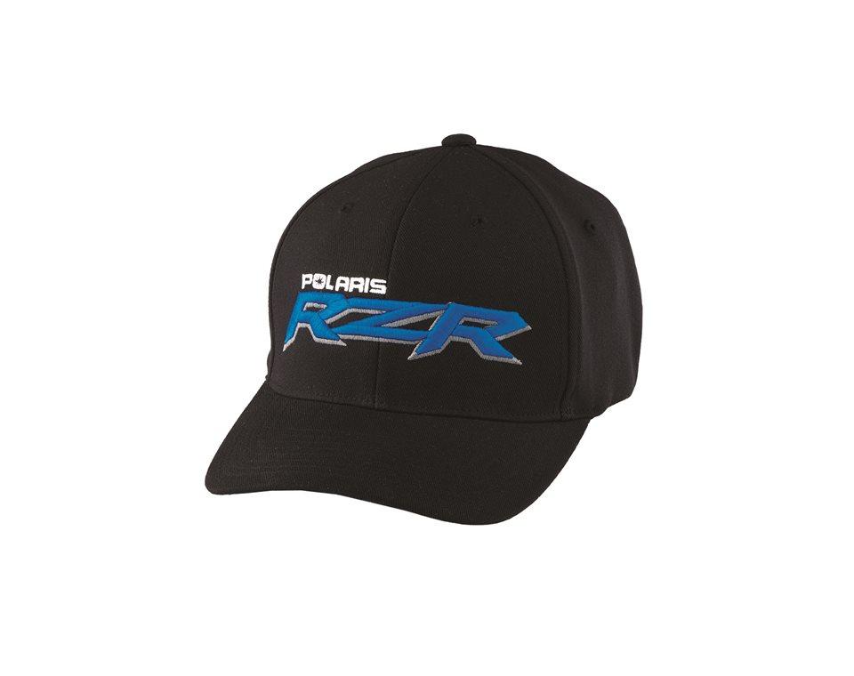 Men 39 s logo cap l xl black blue polaris rzr for Hats and shirts with company logo