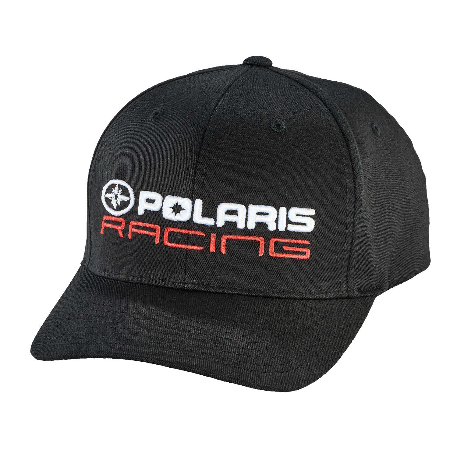 Unisex (L/XL) Flexfit Hat with Polaris® Racing Logo, Black