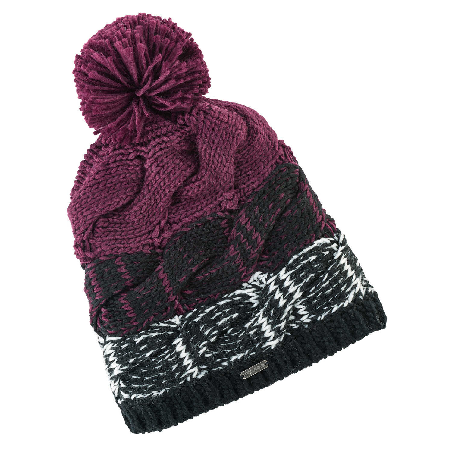 Women's Cable Beanie with Pom Pom, Black/Purple