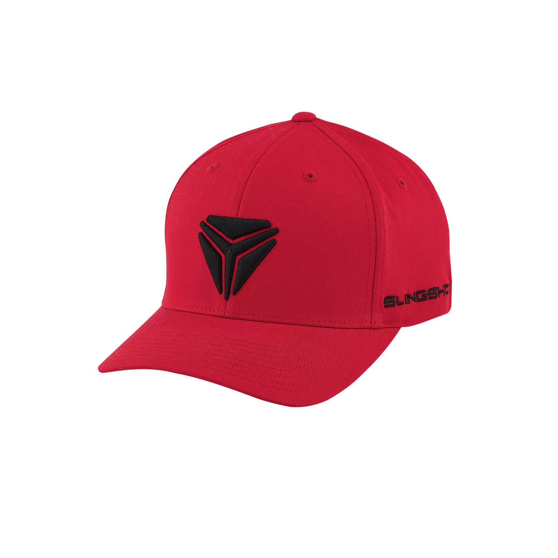Men's (L/XL) Flexfit Hat with Slingshot® Shield Logo, Red