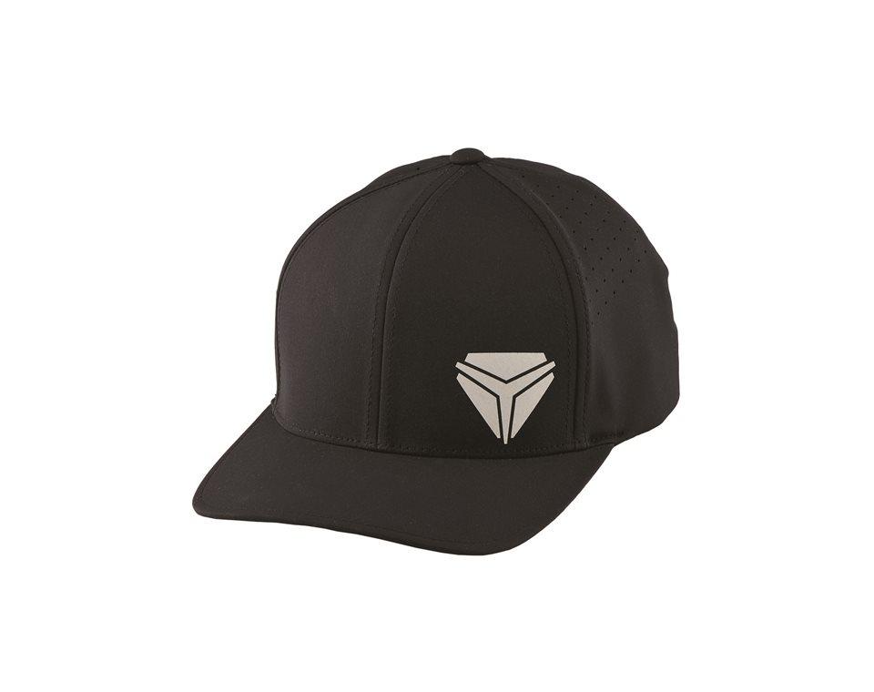 Men's (L/XL) Flexfit Hat with Reflective Slingshot® Shield Logo, Black