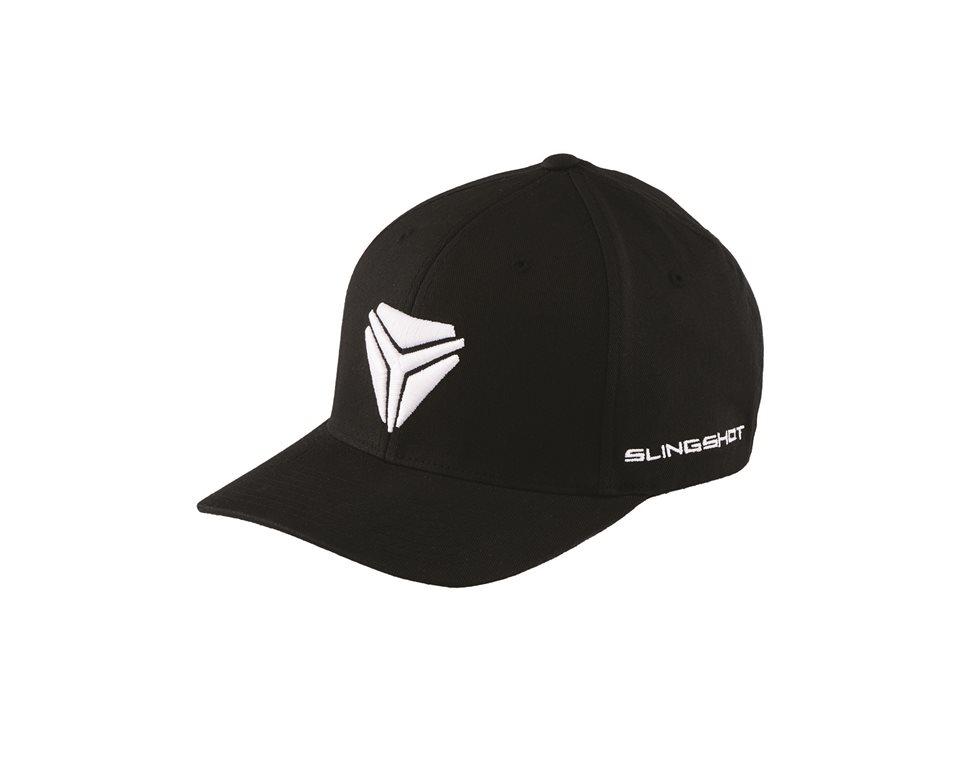 Men's (L/XL) Flexfit Hat with Slingshot® Shield Logo, Black/White