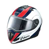 Modular Snowmobile Helmet with Electric Shield - Retro Black Red
