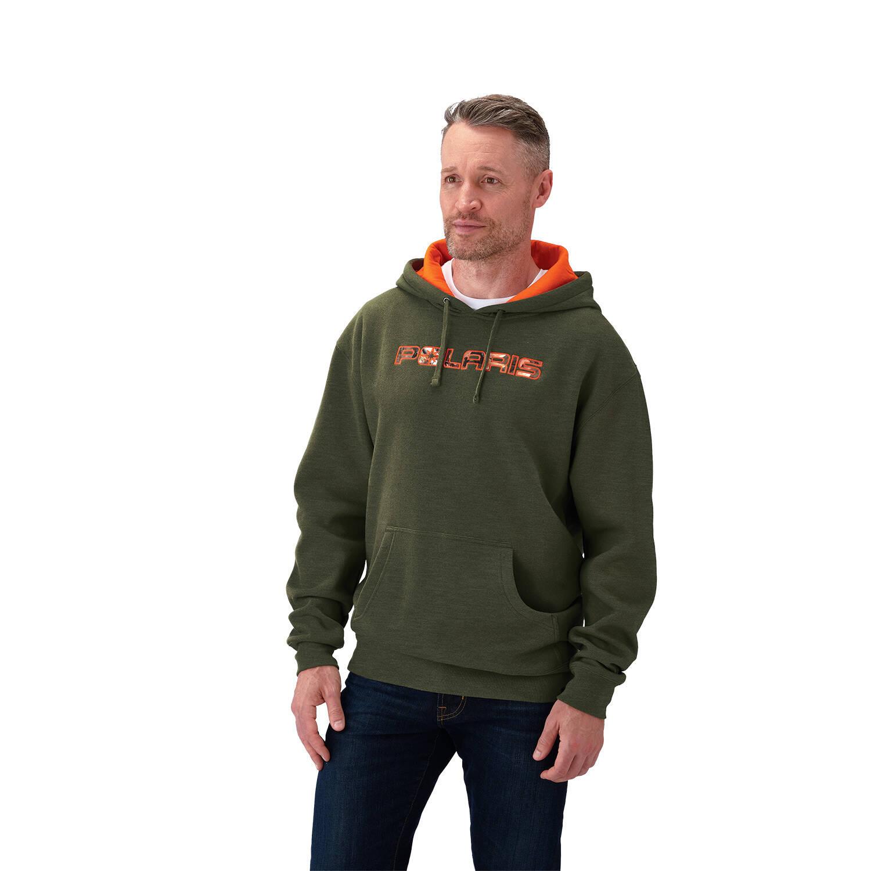 Men's Hunter Green Hoodie Sweatshirt with Orange Polaris® Logo