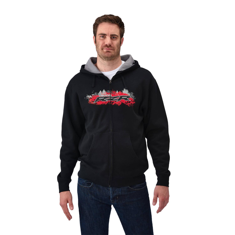 Men's Full-Zip Hoodie Sweatshirt with RZR® Logo, Black/Red