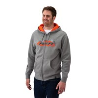 Men's Full-Zip Hoodie Sweatshirt with RZR® Logo, Gray/Orange