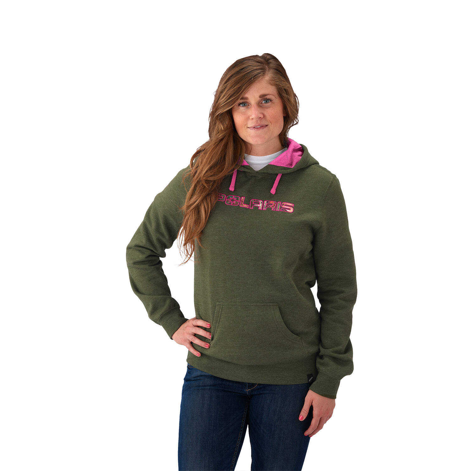 Women's Hunter Green Hoodie with Orange Logo