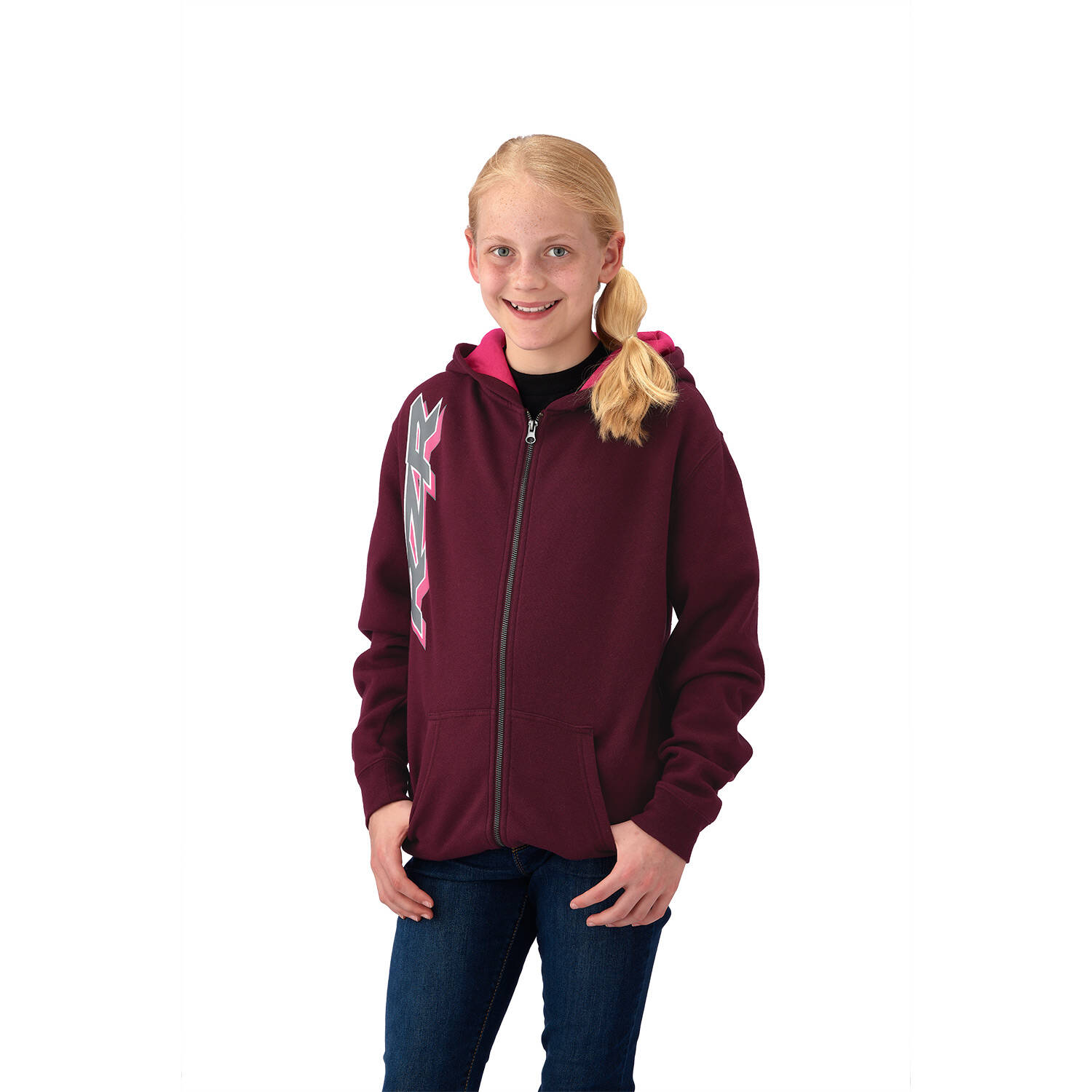 Youth Girl's Full-Zip Hoodie Sweatshirt, Berry