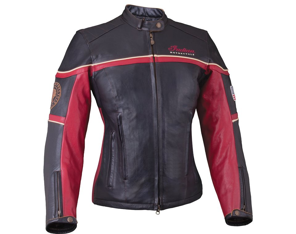 womens freeway jacket blackred leather indian motorcycle