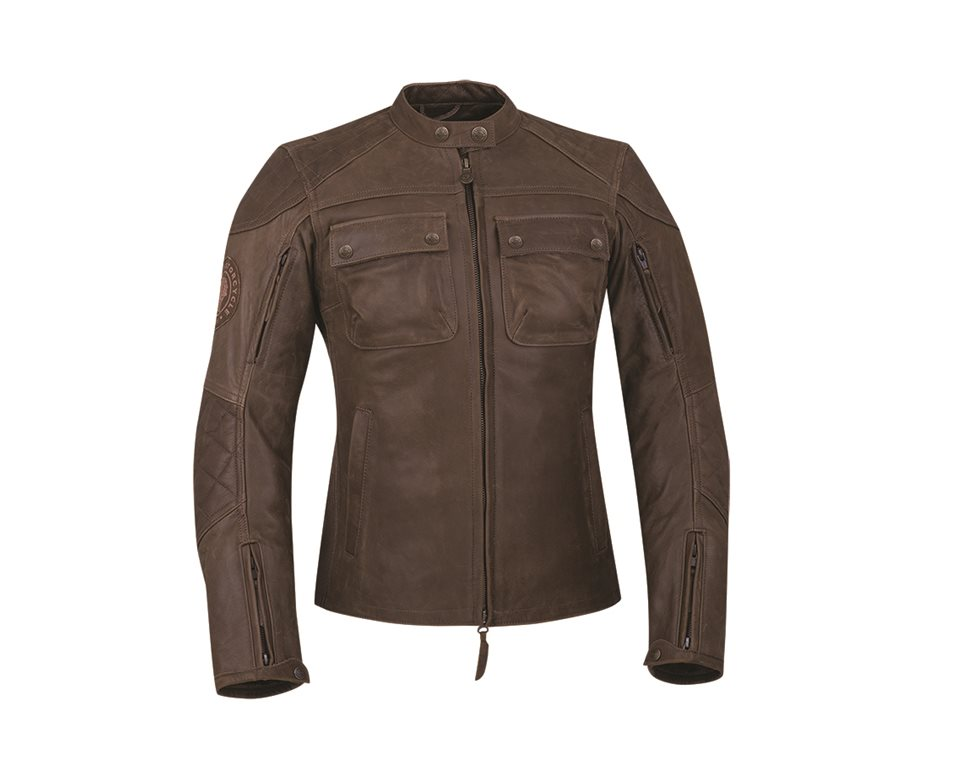Women's Leather Benjamin Riding Jacket with Removable Lining, Brown
