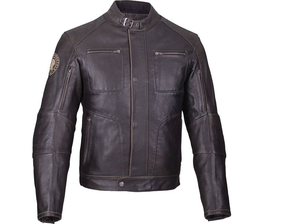 Men's Leather Rocker Riding Jacket with Removable Lining, Dark Brown