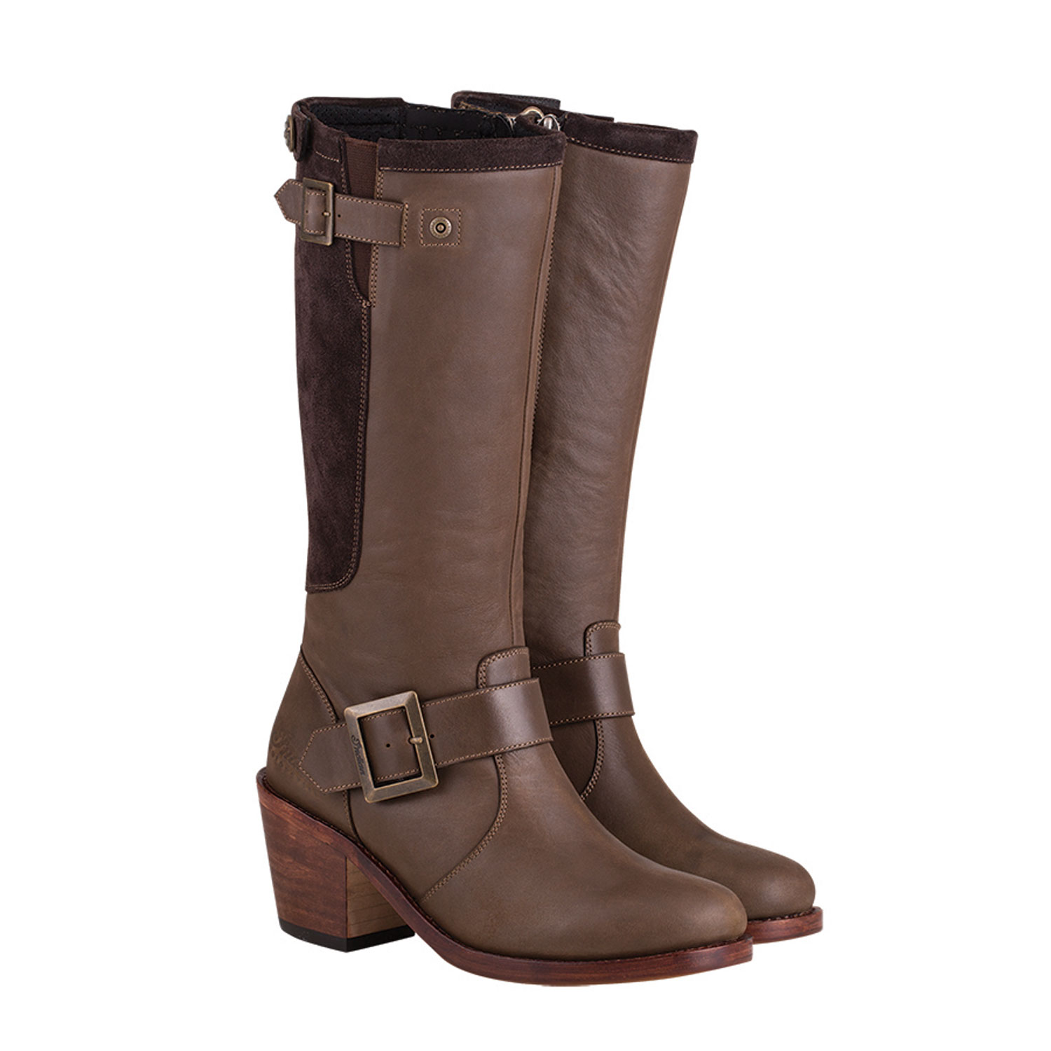 Women's Leather Tall Engineer Boot, Brown