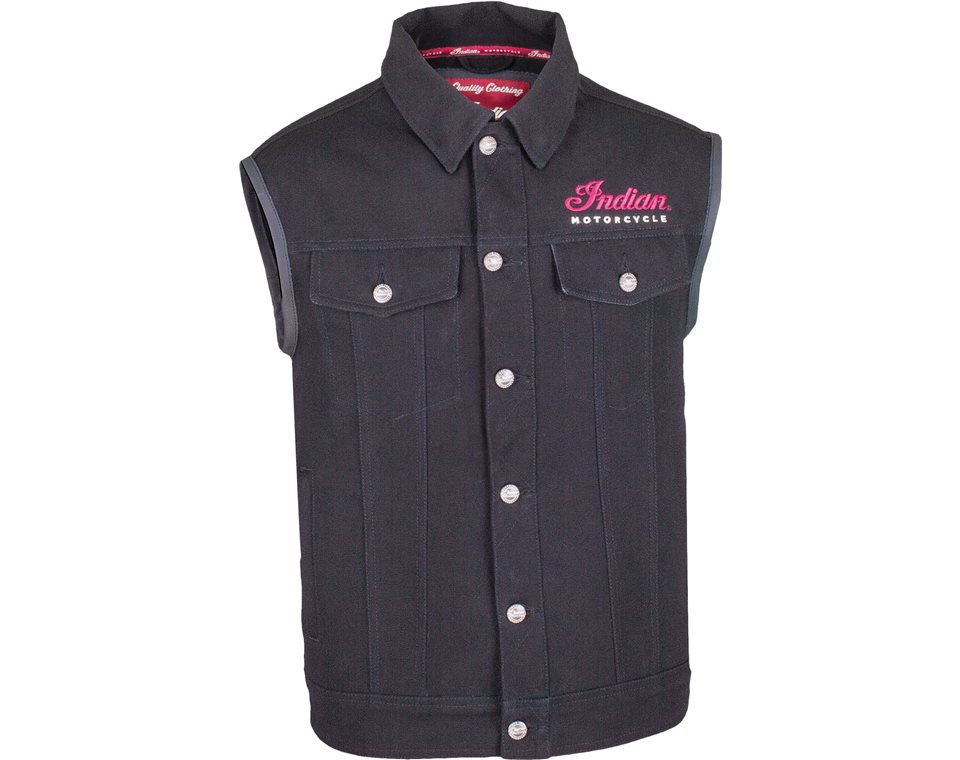 Men's Casual Canvas Vest with Embroidered Indian Script Logo