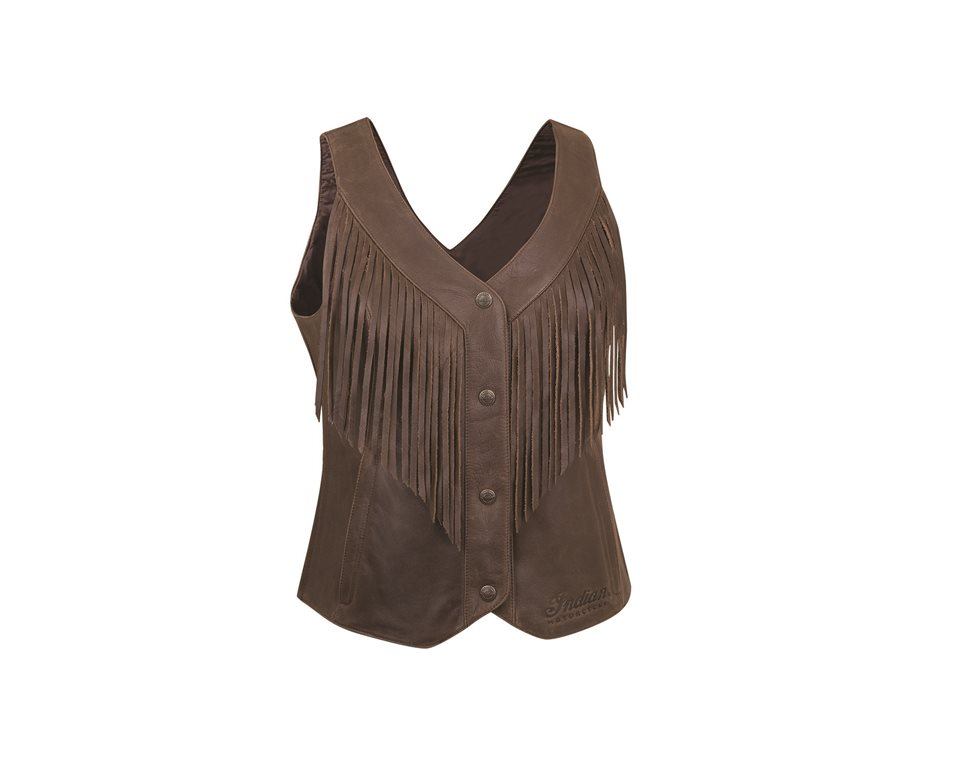 Women's Casual Fringed Leather Vest, Brown