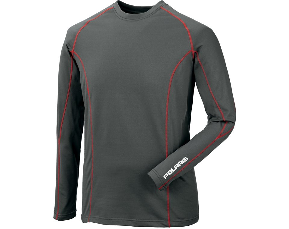 Men's Long-Sleeve Klondike Top Base Layer with Logo, Gray