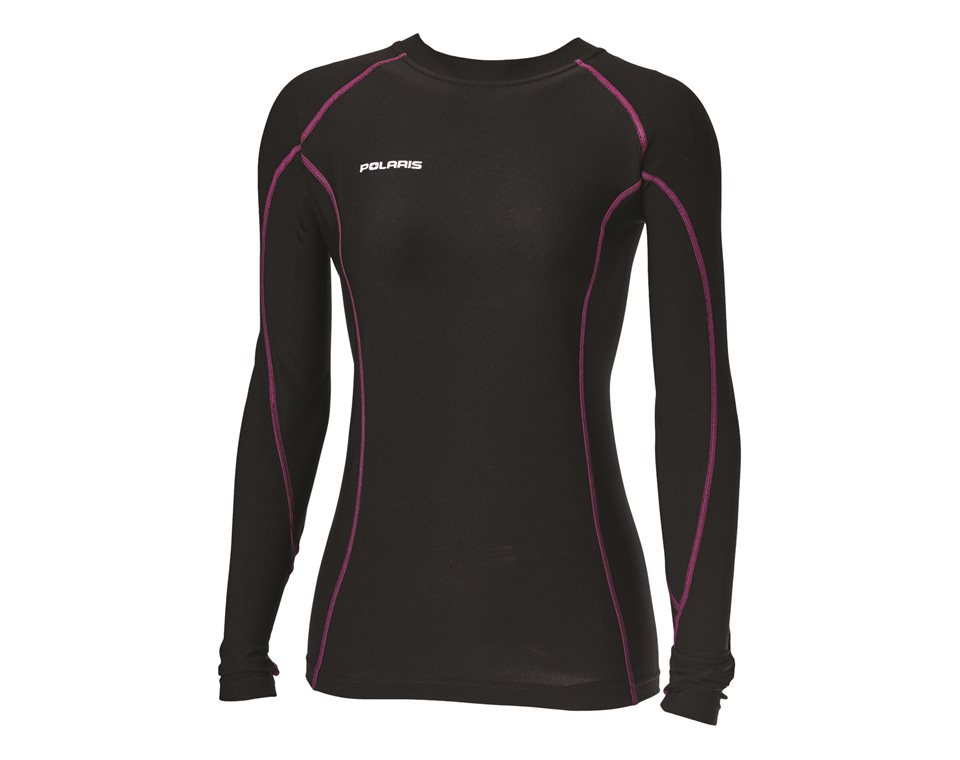 Polaris Womens Long-Sleeve Lightweight Performance Base Layer with Polaris Logo Black