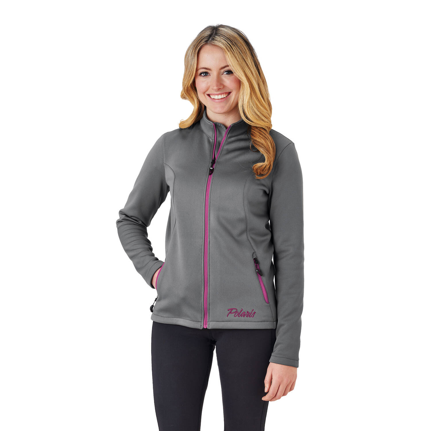 Women's Full-Zip Mid Layer Jacket with Pink Polaris® Logo, Gray