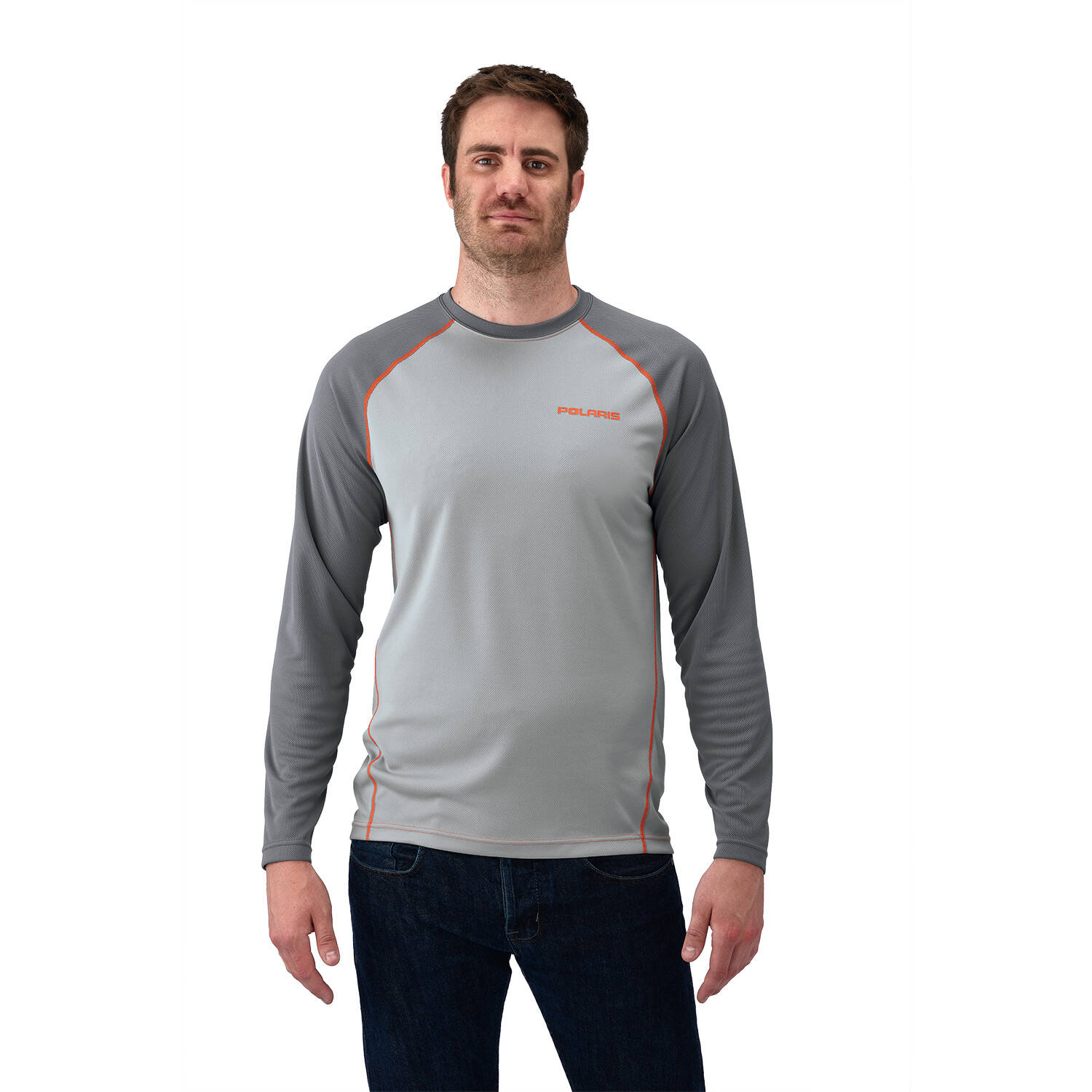 Men's Long-Sleeve Cooling Performance Shirt with Polaris® Logo, Gray