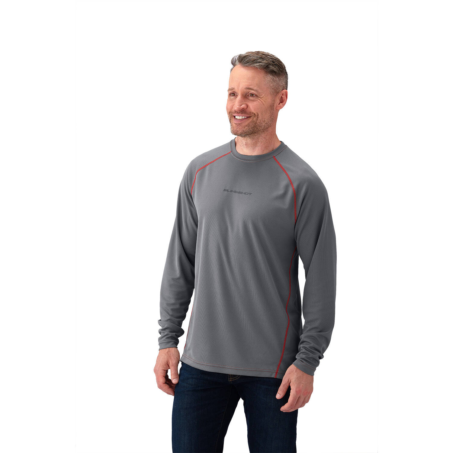 Men's Cooling Long Sleeve Shirt - Gray/Red