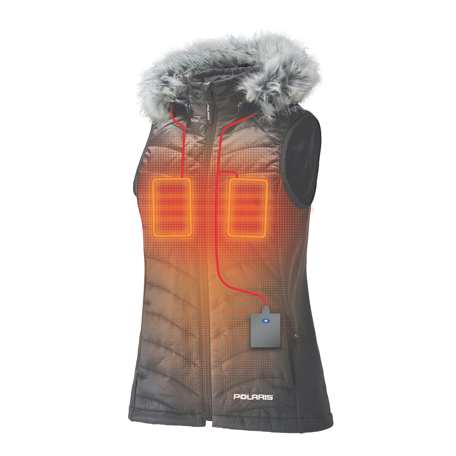 Women's Heated Vest with Rechargeable Battery, Dark Gray