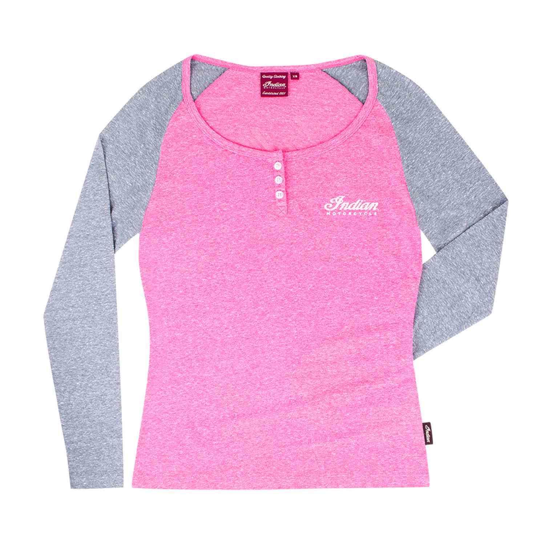 Women's Long-Sleeve Henley T-Shirt, Pink/Gray