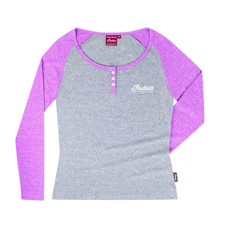 Women's Long-Sleeve Henley T-Shirt, Gray/Purple