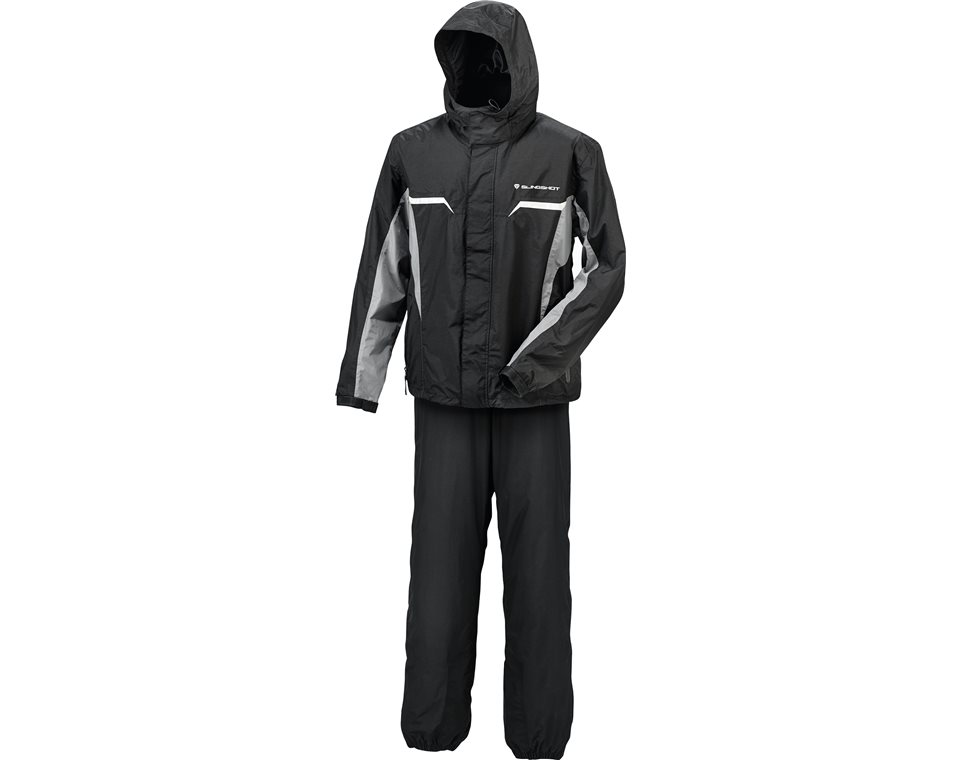 Two-Piece Weather Resistant Rain Suit with 3M Reflective Panels and Slingshot® Logo, Black