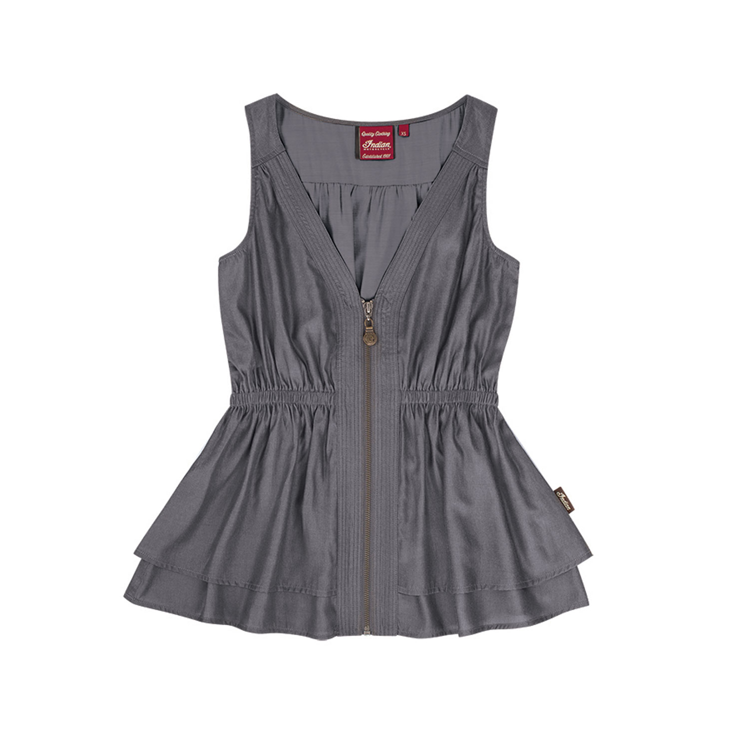 Women's Sleeveless Zip-Front Top with Peplum Hem, Gray