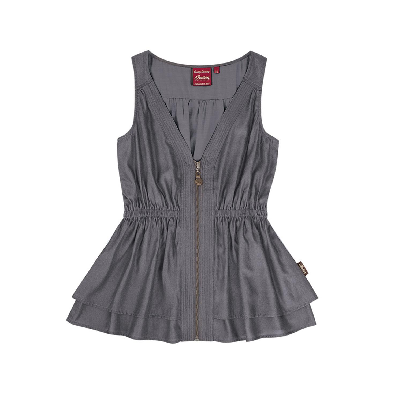 Women's Sleeveless Zip-Front Top with Peplum Hem, Gray