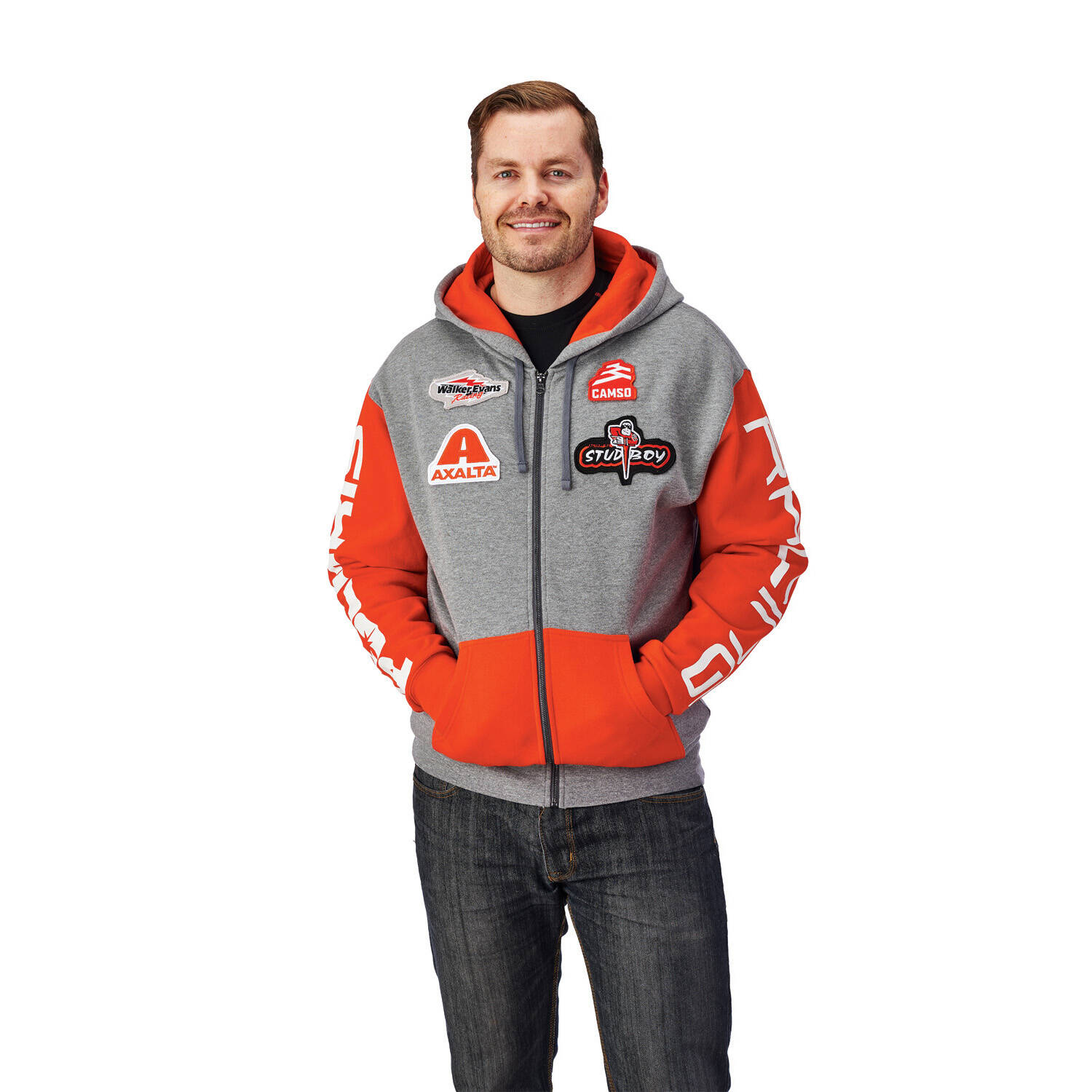 Men's Full-Zip Racing Hoodie Sweatshirt with Polaris® Logo, Gray