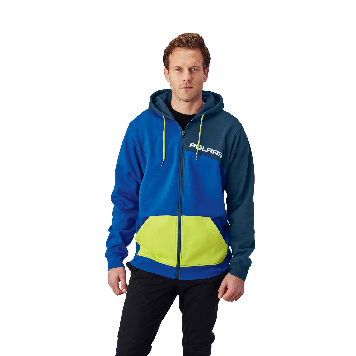 Men's Full-Zip Color Block Hoodie with Logo, Blue/Lime