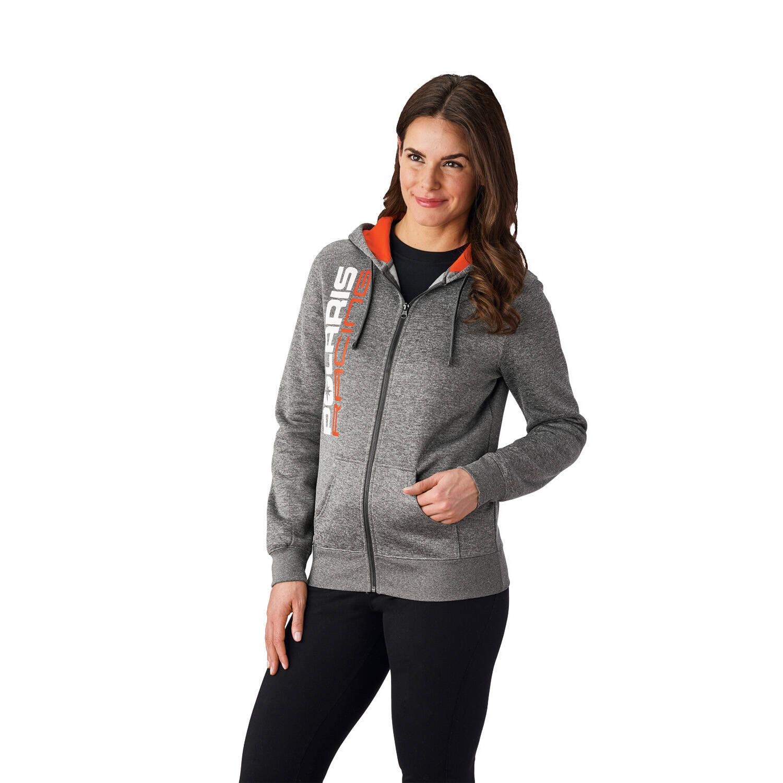 Men's Full-Zip Racing Hoodie Sweatshirt with Polaris® Logo, Gray