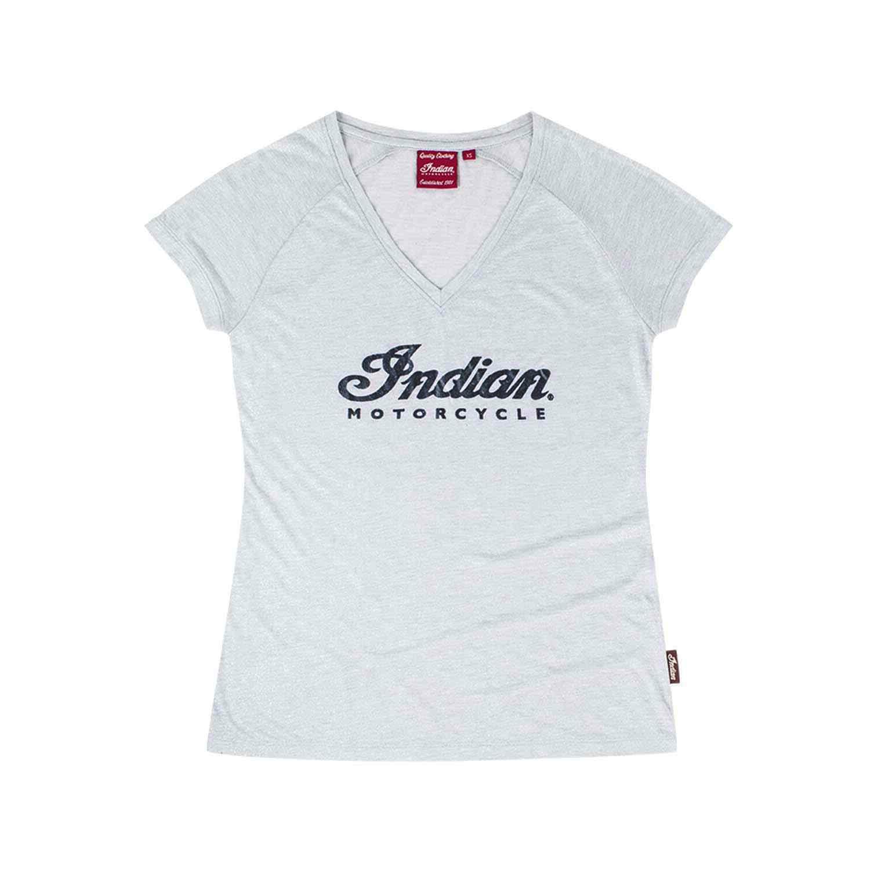 Women's V-Neck Script Logo Sparkle T-Shirt, Silver