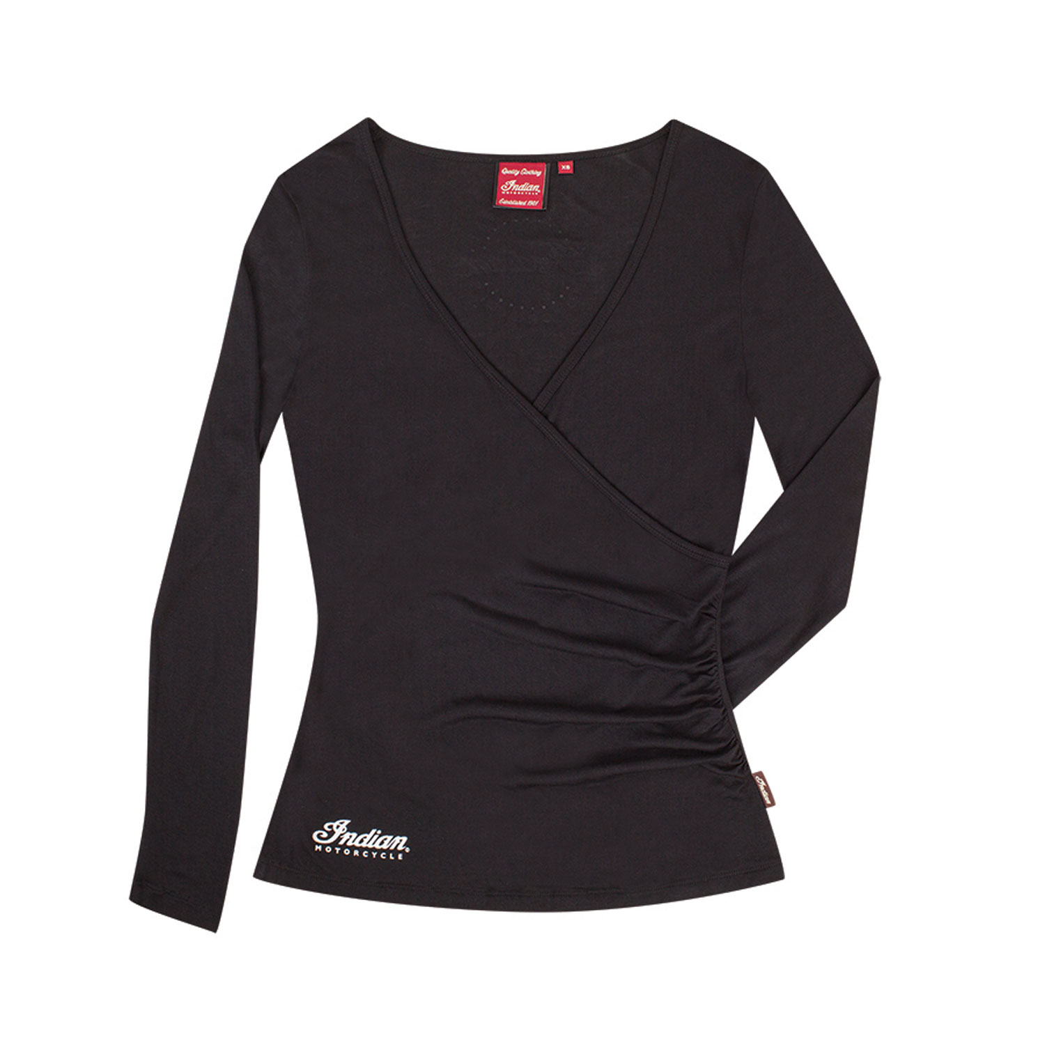 Women's Long-Sleeve Crossover T-Shirt, Black