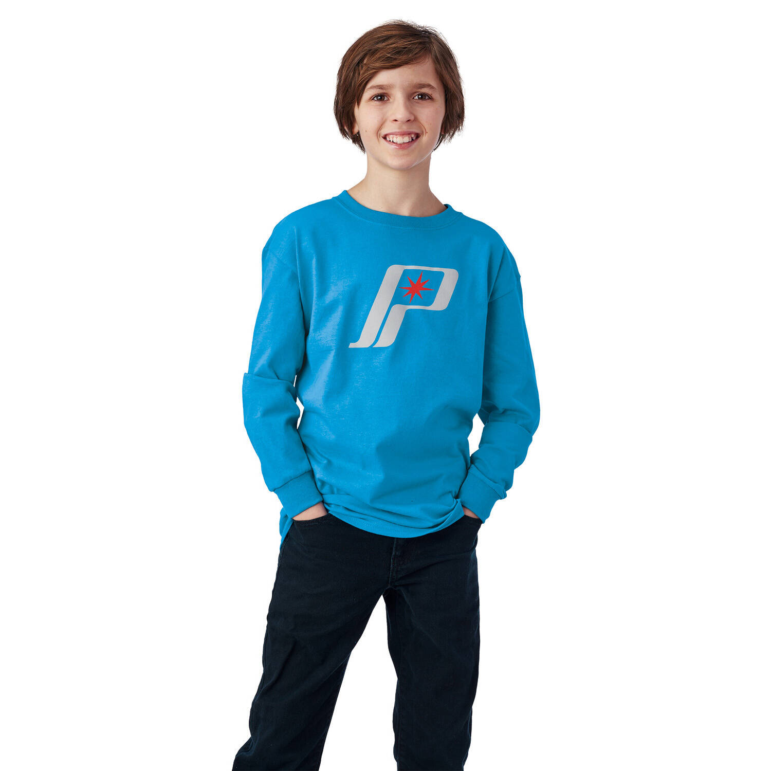 Youth Long-Sleeve Retro Graphic Shirt with Polaris® Logo, Blue