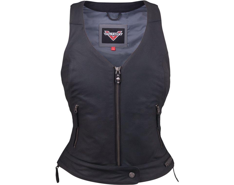 Women's Borderland Vest - Black Leather - Women's Borderland Vest - Black Leather Victory Motorcycles