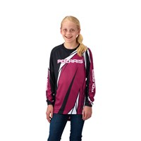 Youth Long-Sleeve Off-Road Riding Jersey with Mesh Ventilated Panels, Pink