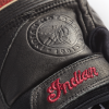 Men's Leather Retro Riding Gloves with Red Stripe, Black - Image 2 of 3