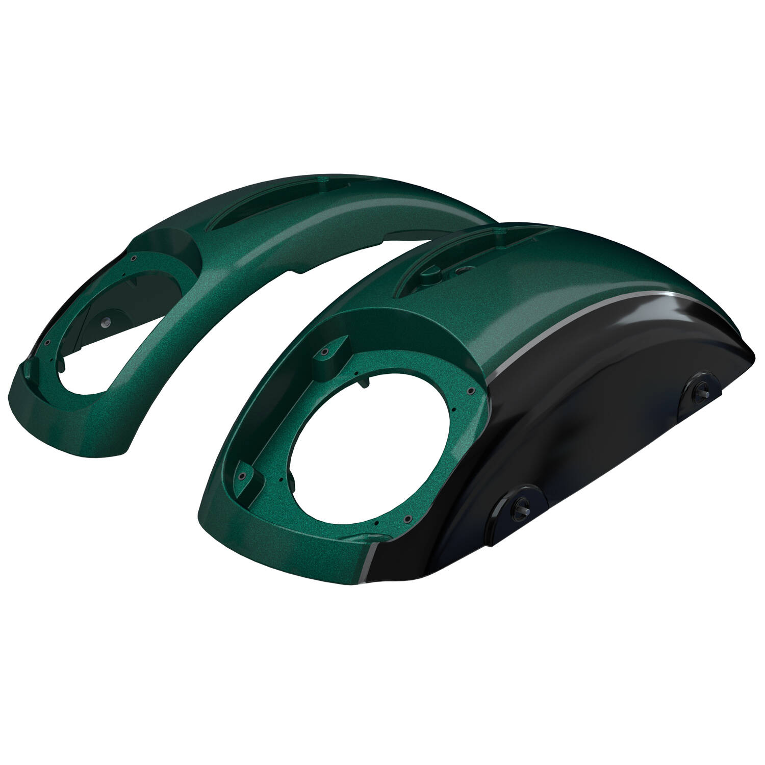 PowerBand™ Audio Classic Saddlebag Speaker Lids - Metallic Jade Green over Thunder Black