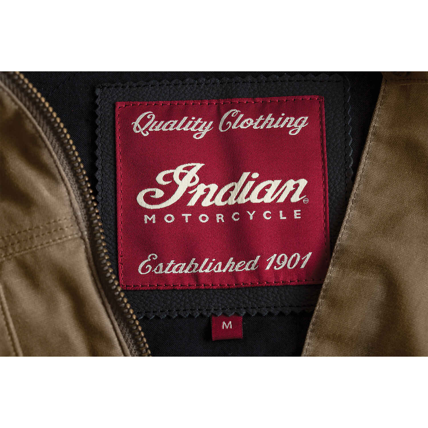 miniature 10 - Indian Motorcycle Men's Waxed Cotton Riding Jacket, Olive
