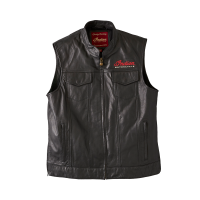 Men's Modern Zip-Up Leather Vest, Black