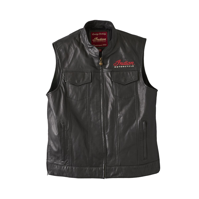 Men's Casual Zip-Up Outsider Leather Vest, Black